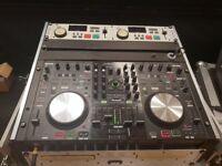 Denon MC6000 MK2 controller and Denon DN1800F Twin cd player in flght case.