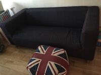 Ikea Klippan Sofa with Union Jack beanbag footstall