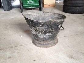 Vintage Retro Tin Coal Scuttle