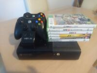 Xbox 360, 2 Controllers, Charging Dock and 6 Games