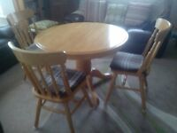 Solid Pine Round / Oval Table & Six Chairs