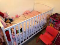Mamas And Papas cot and mattress white