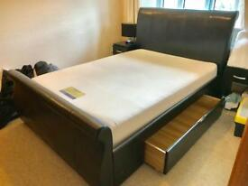 Dreams Black Leather Double Bed with Drawers and Mattress