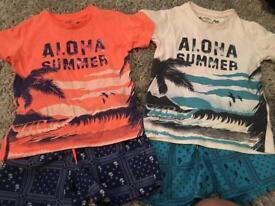 2x mayoral swim shorts and tshirts sets