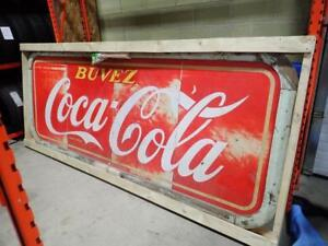 HUGE 4 X 8 ORIGINAL COKE SIGN  TIN LOOK AT CONDITION WOODEN FRAME  ORIGINAL $800