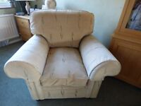 Armchair Oatmeal colour with leaf pattern vgc £50