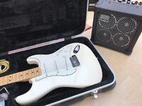 Classic Fender Stratocaster (white) + Roland Micro Cube Amp