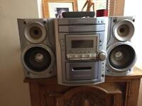 Midi system 5cd changer retro cassette and radio excellent condition great for house parties