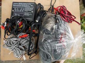 Variety of audio cables, speaker wiring, hifi multi-socket.