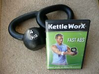 Kettlebells. a pair of 4kg bells, unused with DVD for motivation.