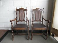 PAIR OF OAK BARLEY TWIST CANE BACK CARVER DINING CHAIRS FREE DELIVERY