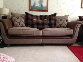 Two, Three seater Sofas and Large Footstool. Grab yourself a bargain.
