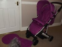 MAMAS & PAPAS LUNA MIX PUSHCHAIR, BUGGY, STROLLER WITH RAIN COVER - FROM BIRTH - COMPACT FOLD
