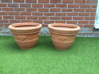 Two Medium sized Terracotta effect Plastic Pots