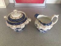 Real old willow sugar bowl and milk jug