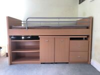 MIDI bunk bed, pull out desk, drawers and shelvs