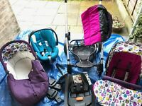 Mamas and Papas Pushchair, Cot / Pram, Car Seat, Isofix Base - Travel System (Sola, Aton, Cybex) -