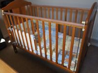 Wooden Dropside Cot with mattress, cot bumper and cover set