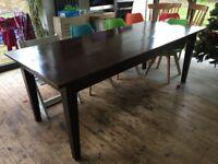 """Antique Dining Table Oak 4 plank wide 7ft 3"""" x 3ft (2.2m x 0.9m) farmhouse"""