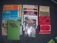 Selection of old motorcycling manuals etc
