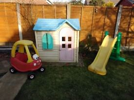 Garden Toys - Wendy House, Car and Slide.