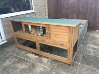 Rabbit hutch with run and cover