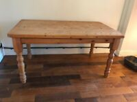 Chunky pine dining / kitchen table approx 5ft x 3ft