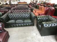 Stunning green leather chesterfield 3 seater sofa and club chair UK delivery