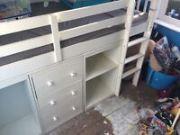 Cabin bed with draws and storage, excellent condition, high sleeper