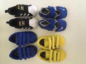 4 pairs of infant size 4 trainers