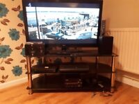 Black Glass TV / Audio / DVD Stand