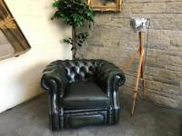 Genuine Chesterfield green tub chair club vintage retro armchair
