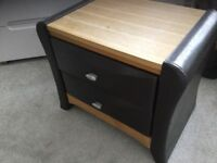 Brown leather and wood finish bedside cabinets x 2
