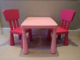 """Ikea """"mammut"""" children's table and two chairs - PINK"""
