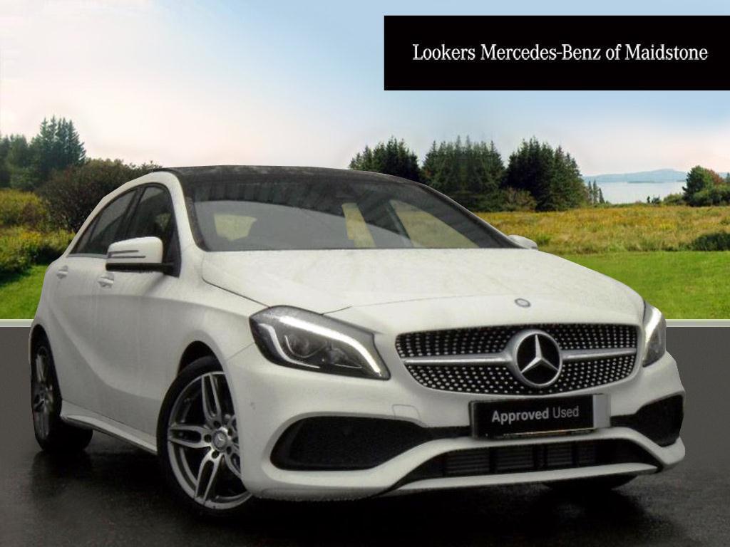 Mercedes benz a class a 200 d amg line premium plus white for White mercedes benz 2017