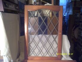 A PAIR OF LEAD GLAZED DOORS FOR WALL CUPDOARDS 72 cms by 50 cms SPOTLESS CONDITION ++++