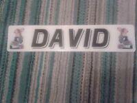 Novelty Number Plate DAVID