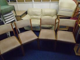 4 pine framed chairs makers name. phillip lait furniture.