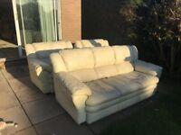 Cream Leather Sofa Set (3 seater & 2 single seaters)