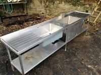 Double stainless steel commercial sink