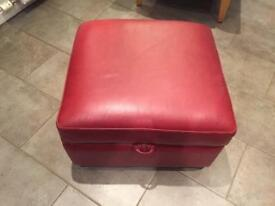 DFS Red leather square storage poufee/ottoman/stool