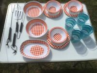 Camping/Picnic Bowls, plastic tumblers (NEW) and BBQ set