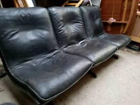 Vintage Danish Sofa Black Leather