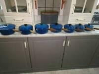 Amazing 7 piece Le Creuset blue pan set with lids
