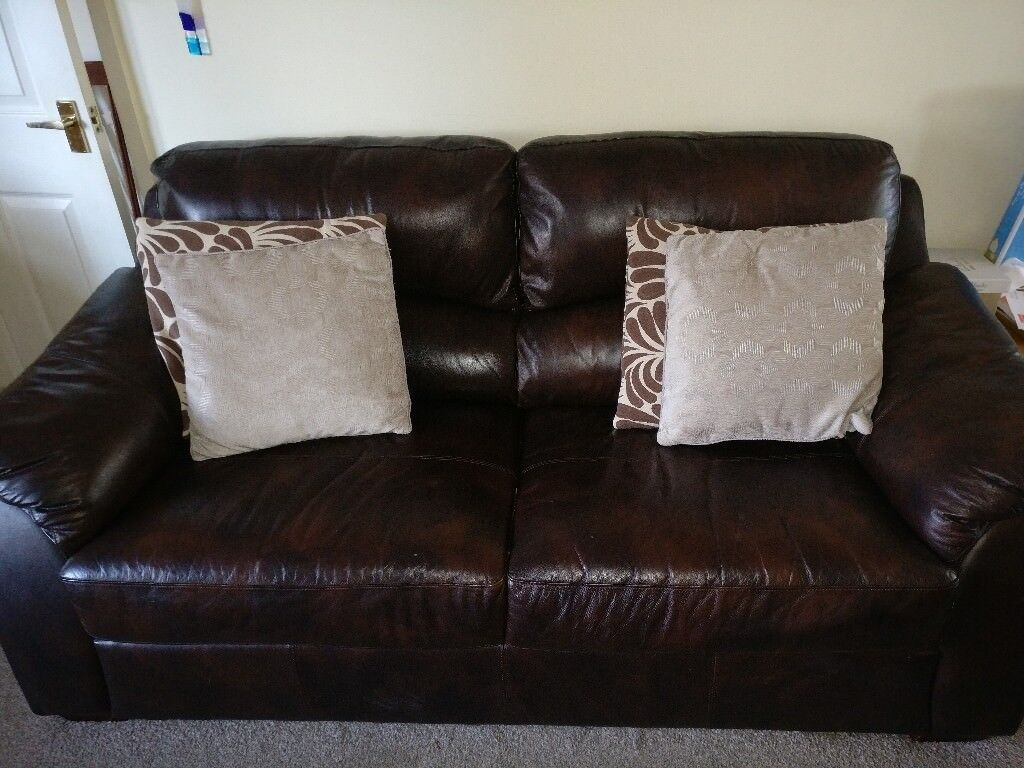 3 2 Seater Brown Leather Sofas In Caerphilly Gumtree ~ Brown Leather Sofa Chair