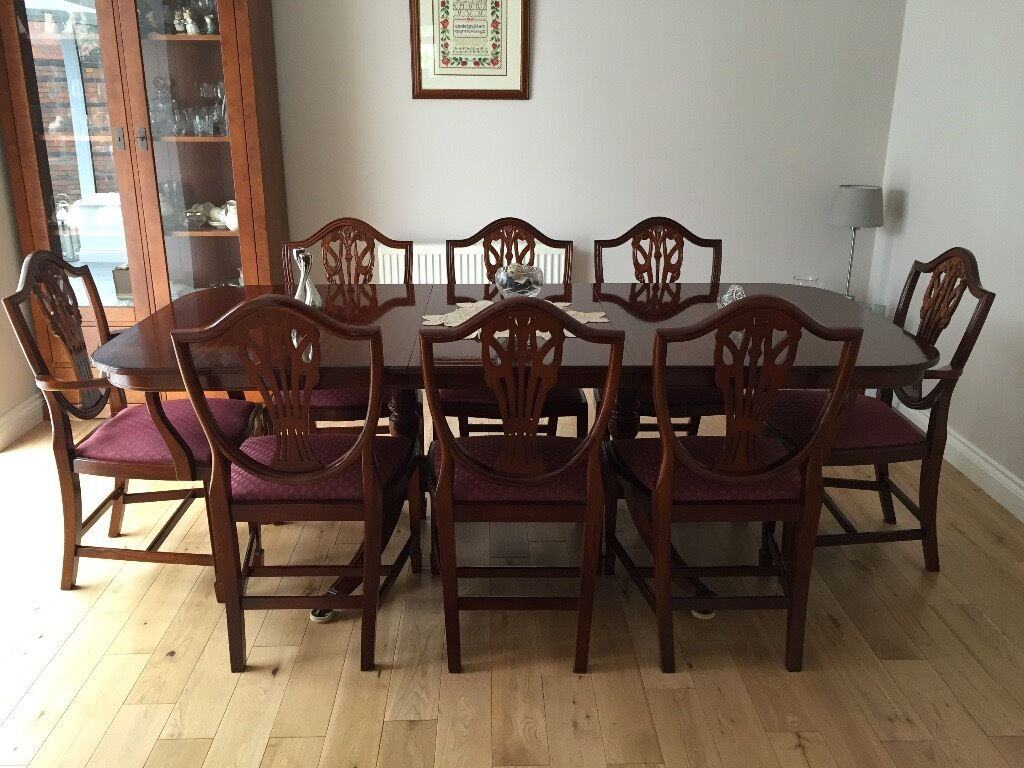 Mahogany dining table and 8 chairs - beautiful condition. | in ...