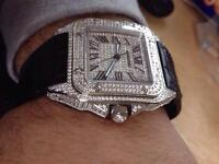RARE exclusive cartier men's and women's diamond Swiss XL designer watch