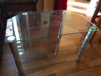 Transparent, 3 level TV stand
