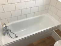 White Bathroom Suite - Sink+Taps, Keyhole Bath+Taps, Toilet, Shower, Radiator