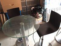 glass bar table & bar stool